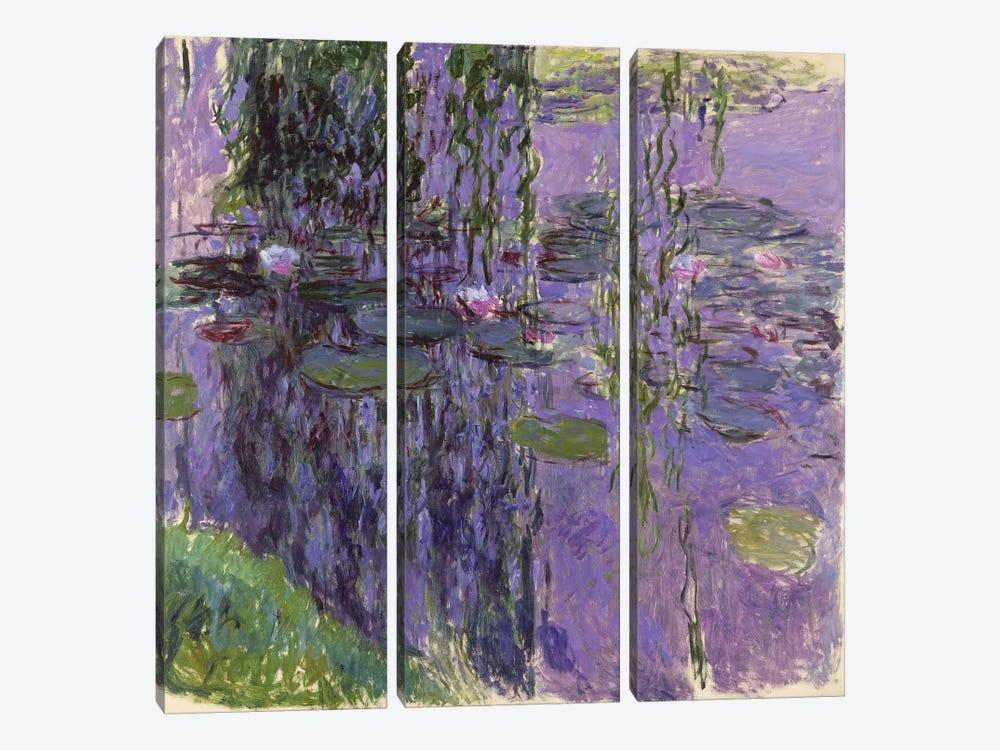Nympheas, 1916-19  by Claude Monet 3-piece Canvas Print