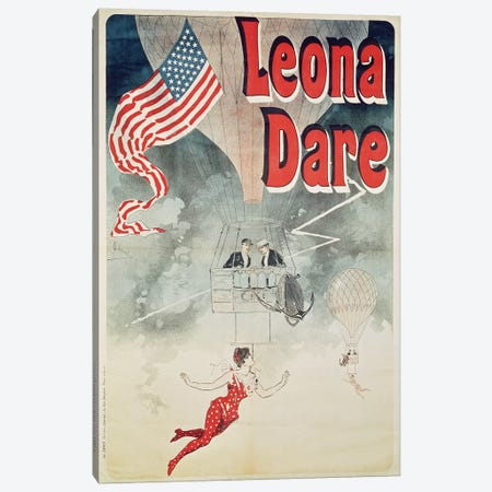Ballooning: `Leona Dare' poster, 1890 Canvas Print #BMN242} by Jules Cheret Canvas Wall Art