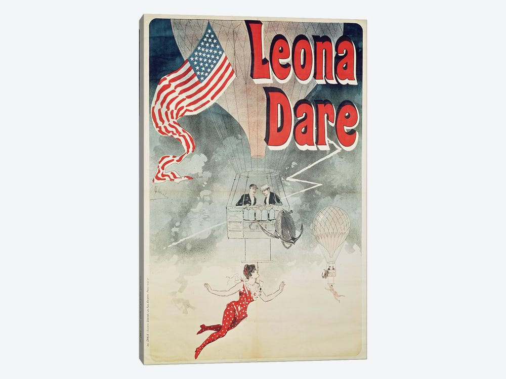 Ballooning: `Leona Dare' poster, 1890 by Jules Cheret 1-piece Canvas Wall Art