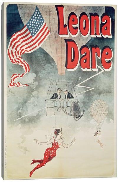 Ballooning: `Leona Dare' poster, 1890 Canvas Art Print