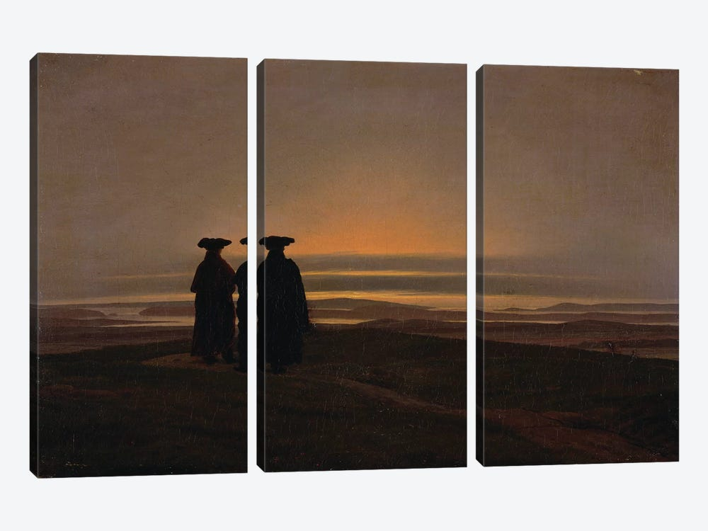 Sunset  by Caspar David Friedrich 3-piece Canvas Wall Art