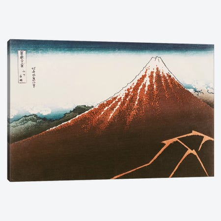 Fuji Above The Lightning (Musee Guimet) Canvas Print #BMN2441} by Katsushika Hokusai Canvas Art