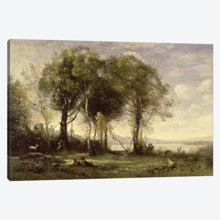 The Goatherds of Castel Gandolfo, 1866  Canvas Print #BMN2450} by Jean-Baptiste-Camille Corot Canvas Art Print