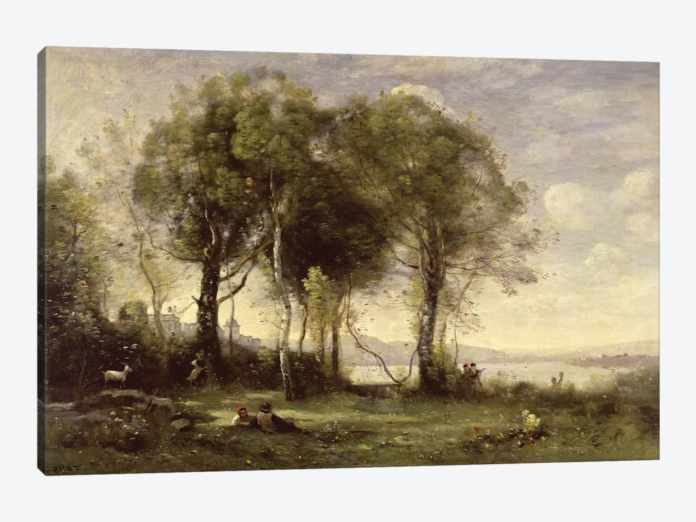 The Goatherds of Castel Gandolfo, 1866  by Jean-Baptiste-Camille Corot 1-piece Canvas Print