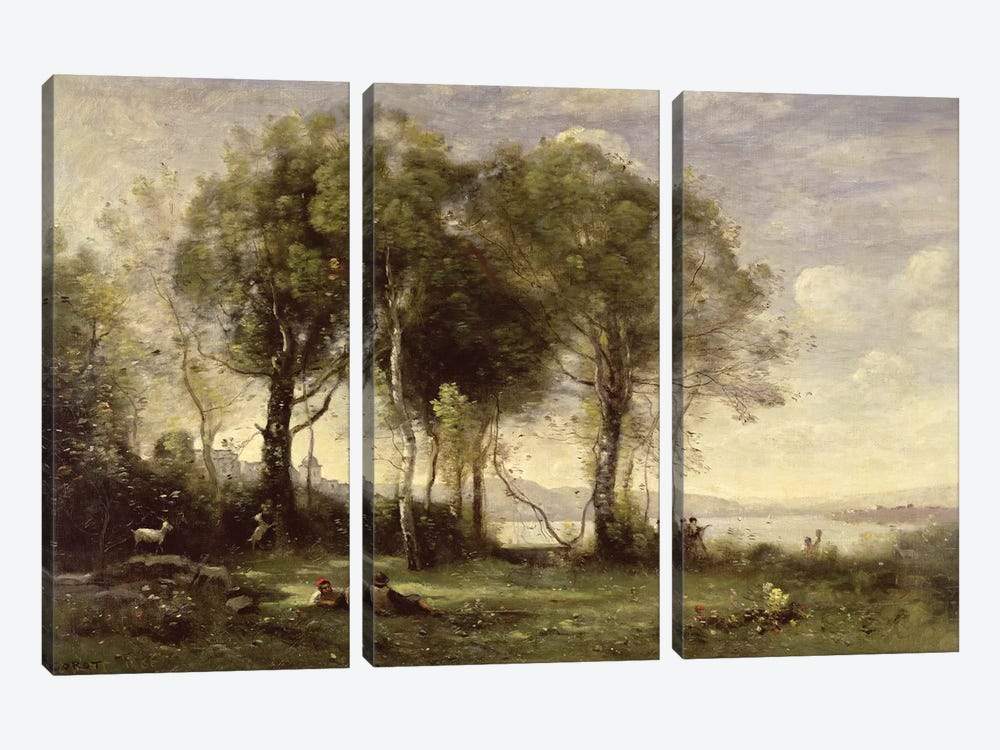 The Goatherds of Castel Gandolfo, 1866  by Jean-Baptiste-Camille Corot 3-piece Canvas Print