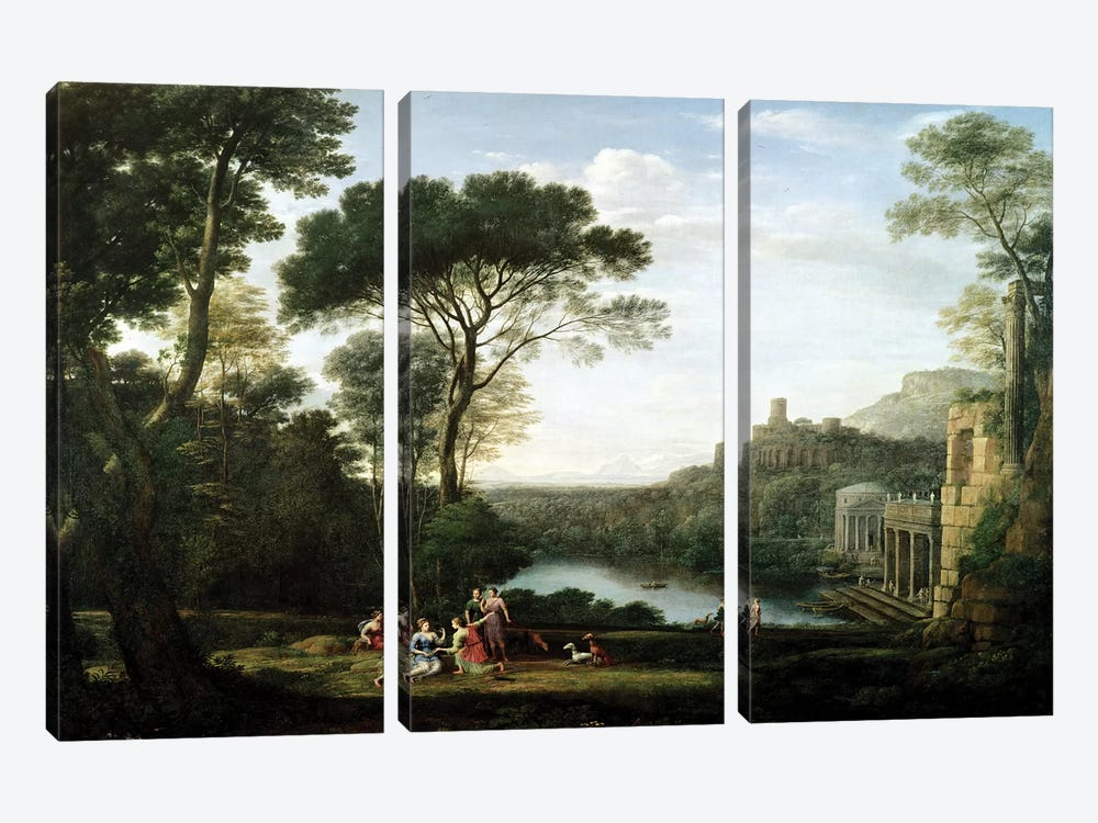 Landscape with the Nymph Egeria  by Claude Lorrain 3-piece Canvas Art Print