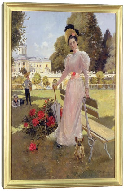 Portrait of Princess Z.N. Yusupova with her Two Sons at Arkhangelskoe, 1894  Canvas Art Print