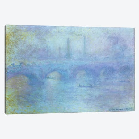 Waterloo Bridge, Effect of Fog, 1903  Canvas Print #BMN2457} by Claude Monet Canvas Art