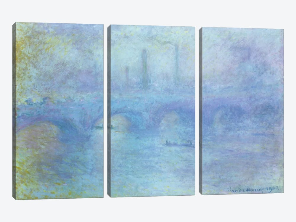 Waterloo Bridge, Effect of Fog, 1903 by Claude Monet 3-piece Canvas Wall Art