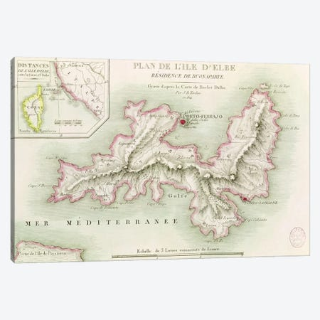 Map of the Island of Elba, engraved by Jean-Baptiste Tardieu  Canvas Print #BMN2464} by Baron Louis Albert Bacler d'Albe Art Print