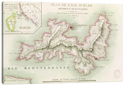 Map of the Island of Elba, engraved by Jean-Baptiste Tardieu Canvas Art Print