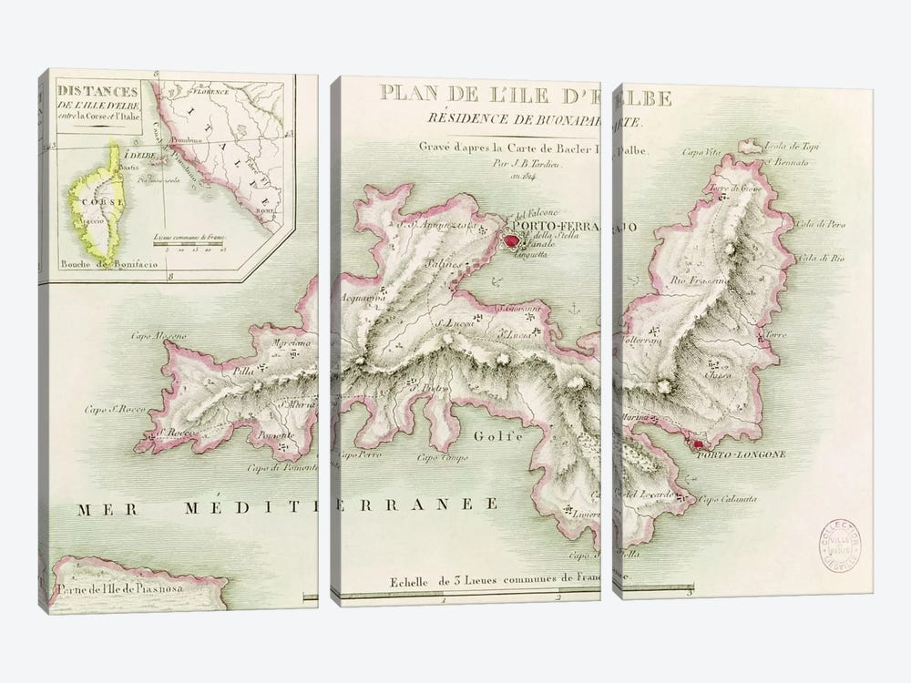 Map of the Island of Elba, engraved by Jean-Baptiste Tardieu by Baron Louis Albert Bacler d'Albe 3-piece Canvas Art