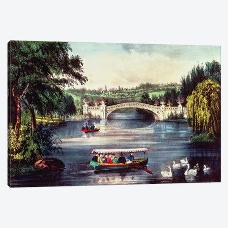 Central Park - The Bridge  Canvas Print #BMN2476} by N. Currier Canvas Artwork