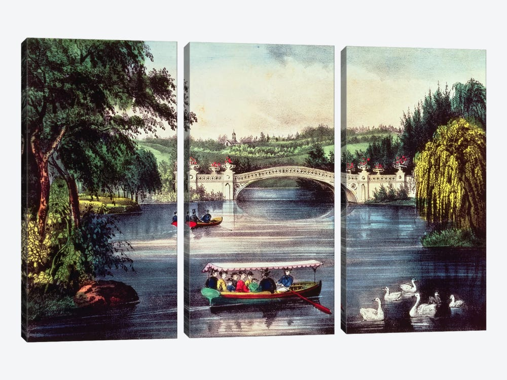 Central Park - The Bridge  by N. Currier 3-piece Art Print
