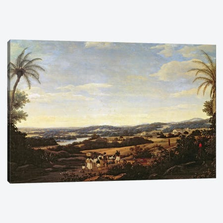 Brazilian Landscape with a Plantation  3-Piece Canvas #BMN2480} by Frans Jansz Post Canvas Art