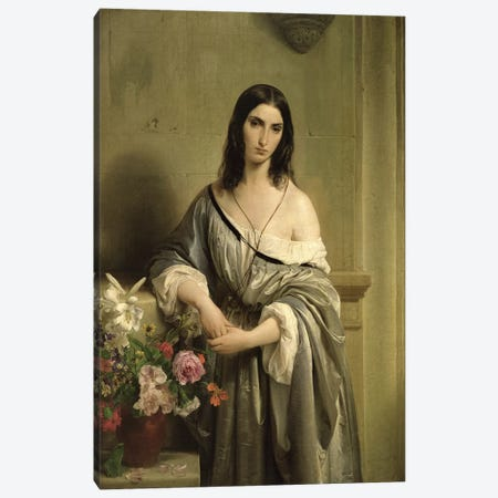 Melancholic Thoughts, 1842  Canvas Print #BMN2482} by Francesco Hayez Canvas Artwork