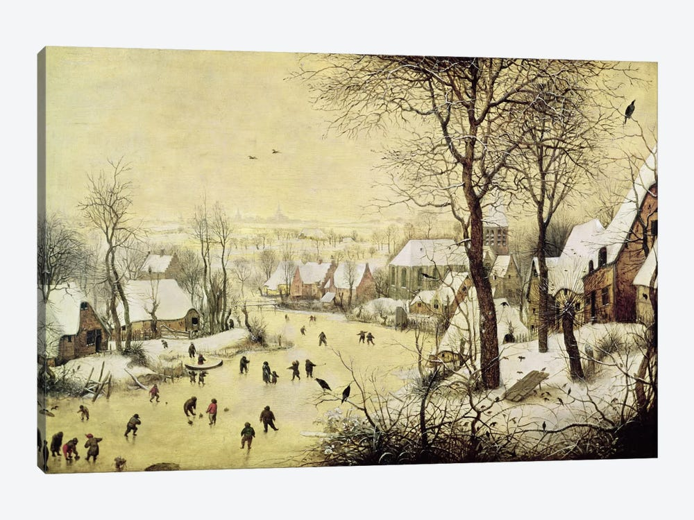 Winter Landscape with Skaters and a Bird Trap, 1565  by Pieter Bruegel 1-piece Canvas Art