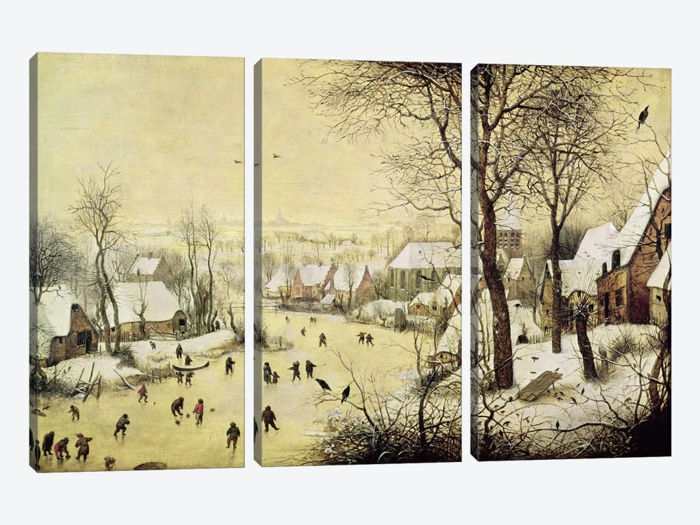 Winter Landscape with Skaters and a Bird Trap, 1565  by Pieter Bruegel 3-piece Canvas Artwork
