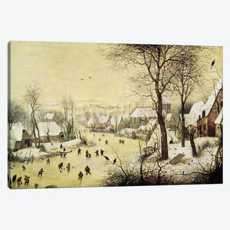 Winter Landscape with Skaters and a Bird Trap, 1565  Canvas Print #BMN2486} by Pieter Brueghel the Elder Canvas Print