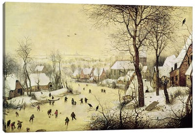 Winter Landscape with Skaters and a Bird Trap, 1565  Canvas Art Print
