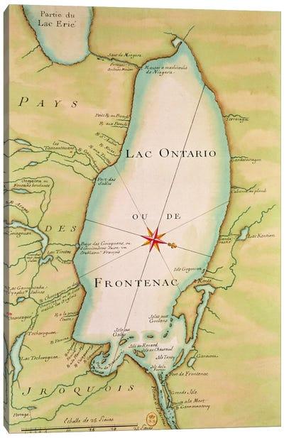 Map of Lake Ontario  Canvas Art Print