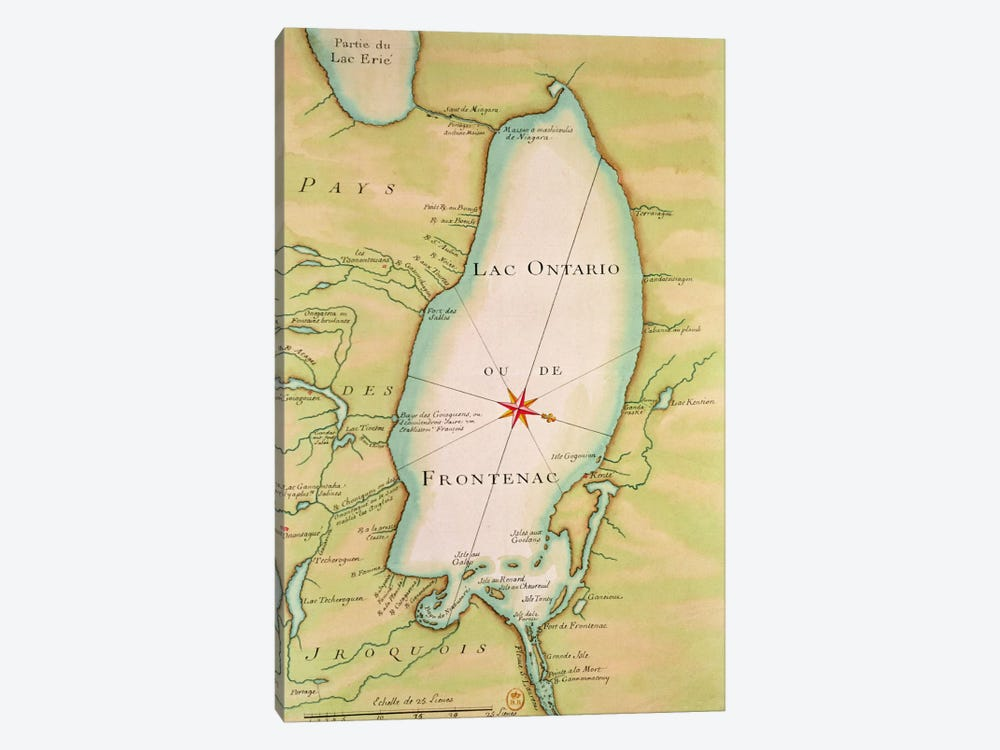 Map of Lake Ontario  by French School 1-piece Canvas Artwork