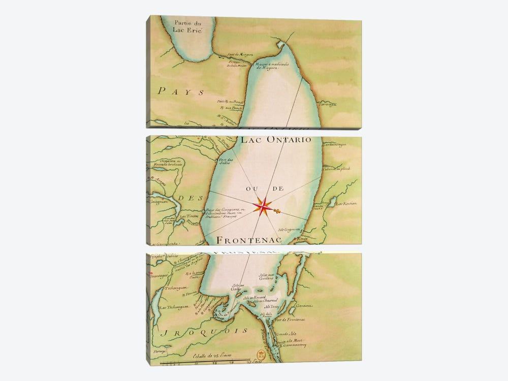 Map of Lake Ontario  by French School 3-piece Canvas Wall Art