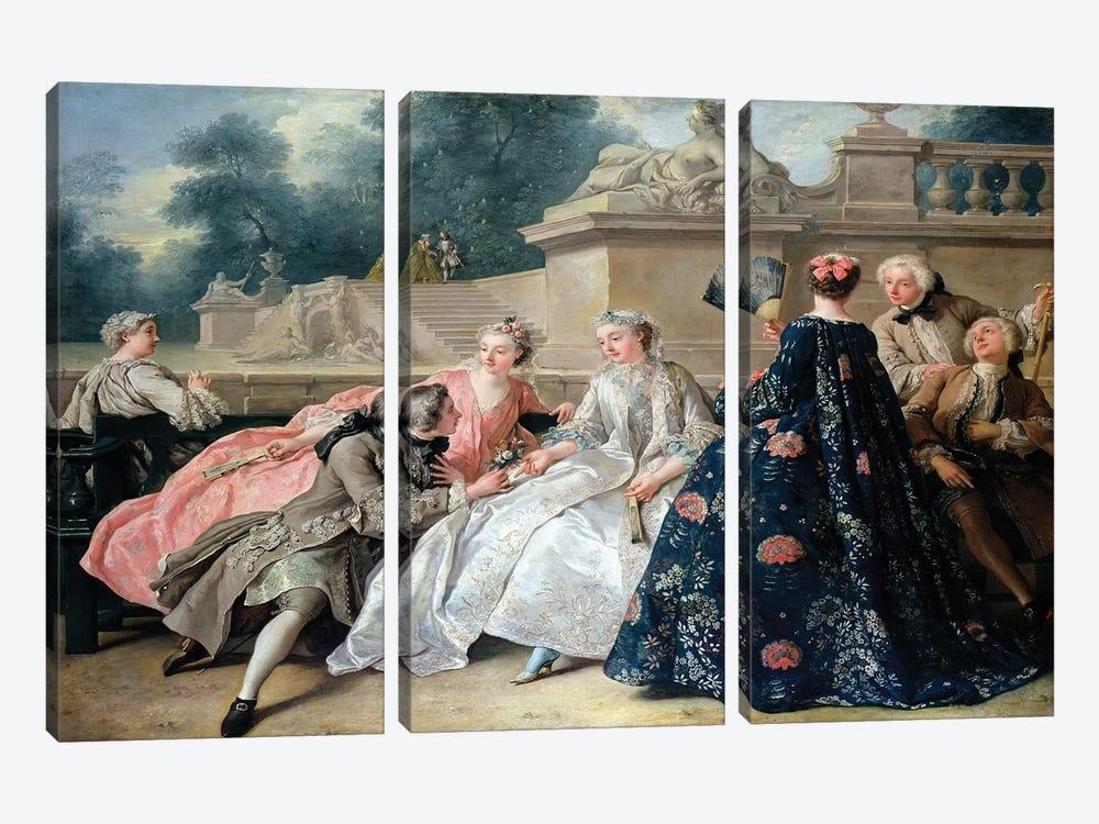 Declaration of Love, 1731  by Jean Francois de Troy 3-piece Canvas Art Print