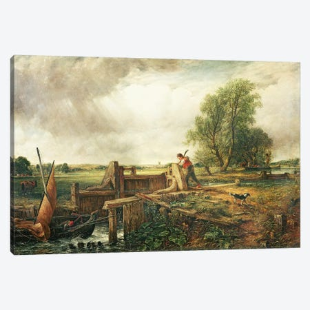 A Boat Passing a Lock  Canvas Print #BMN2491} by John Constable Art Print