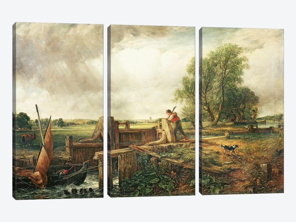 A Boat Passing a Lock  by John Constable 3-piece Canvas Art