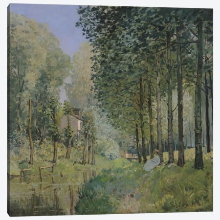 The Rest by the Stream. Edge of the Wood, 1872  3-Piece Canvas #BMN2493} by Alfred Sisley Canvas Art Print