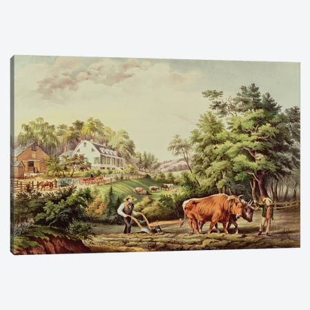American Farm Scenes, engraved by Nathaniel Currier  Canvas Print #BMN2495} by Frances Flora Bond Palmer Canvas Wall Art