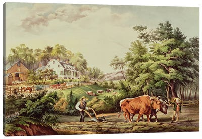 American Farm Scenes, engraved by Nathaniel Currier  Canvas Art Print
