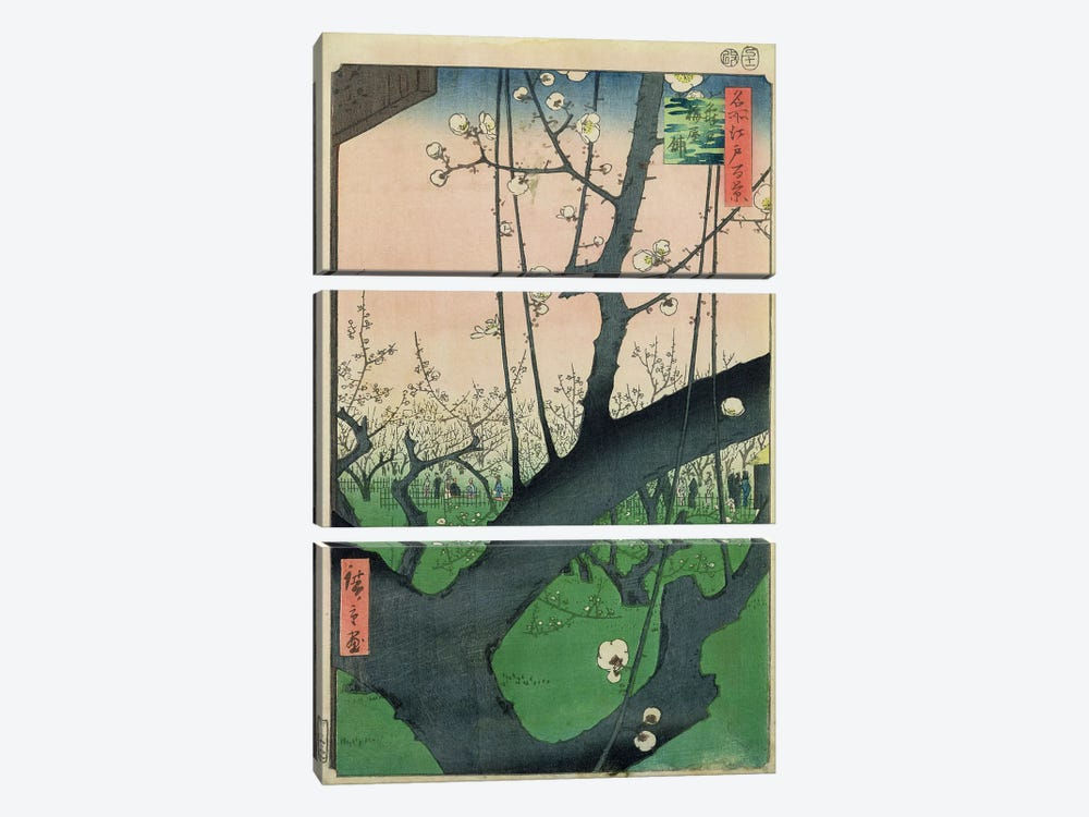 Kameido Umeyashiki (Plum Estate, Kameido) by Utagawa Hiroshige 3-piece Canvas Print