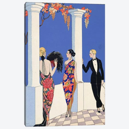 The Taste of Shawls, 1922 (pochoir print) Canvas Print #BMN24} by Georges Barbier Canvas Print