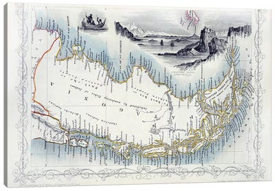 Patagonia, from a Series of World Maps published by John Tallis & Co., New York & London, 1850s  Canvas Print #BMN2504
