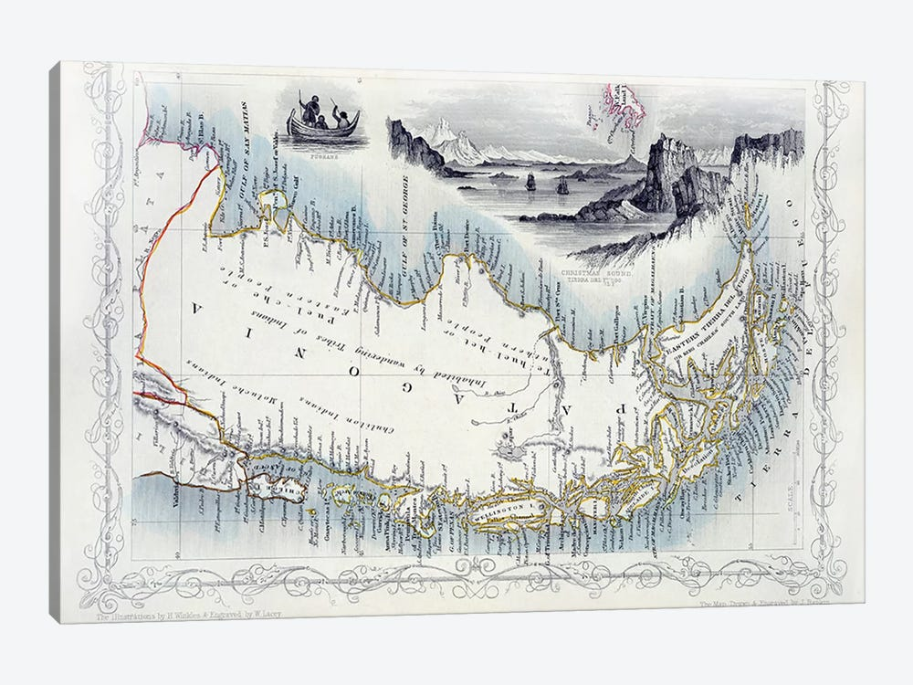 Patagonia, from a Series of World Maps published by John Tallis & Co., New York & London, 1850s  by John Rapkin 1-piece Canvas Art Print