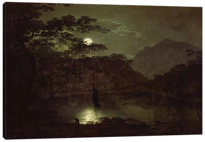A Lake by Moonlight, c.1780-82  Canvas Art Print