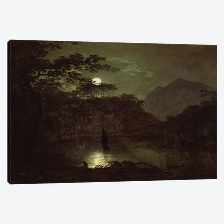 A Lake by Moonlight, c.1780-82  Canvas Print #BMN2508} by Joseph Wright of Derby Art Print