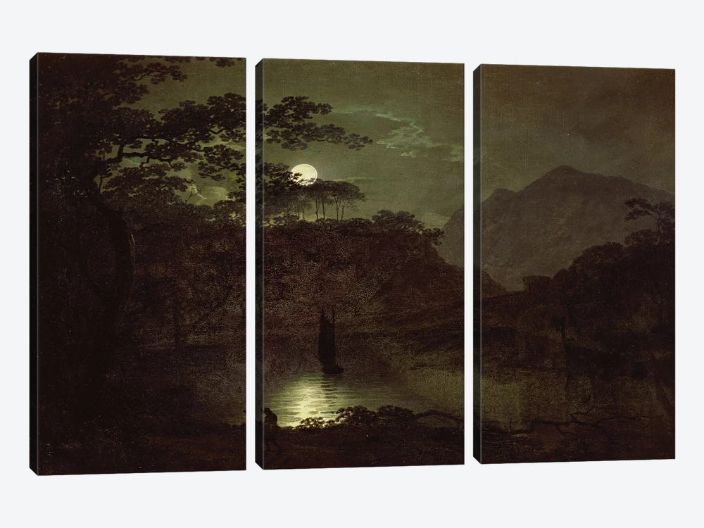 A Lake by Moonlight, c.1780-82  by Joseph Wright of Derby 3-piece Canvas Art Print