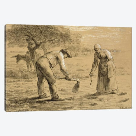 Peasants planting potatoes  Canvas Print #BMN2511} by Jean-Francois Millet Canvas Wall Art