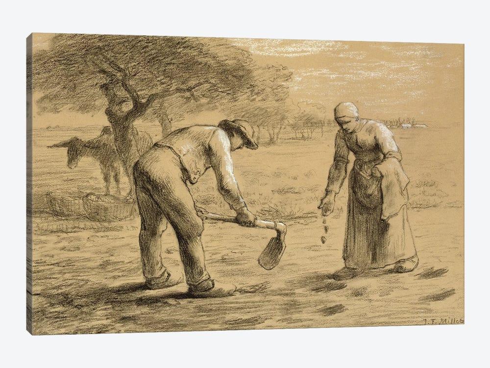 Peasants planting potatoes  by Jean-Francois Millet 1-piece Art Print