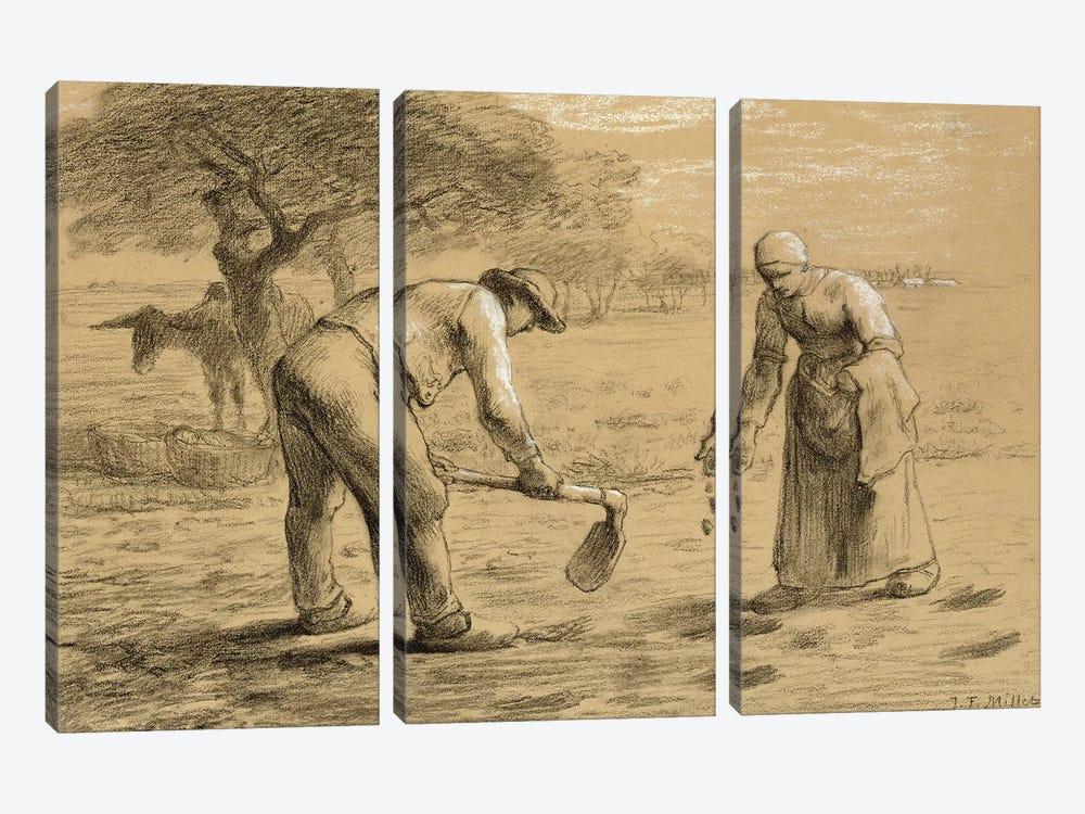 Peasants planting potatoes  by Jean-Francois Millet 3-piece Art Print