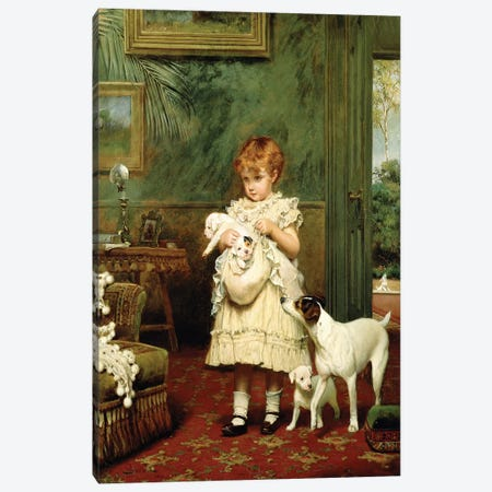 Girl with Dogs, 1893  Canvas Print #BMN2519} by Charles Burton Barber Canvas Art