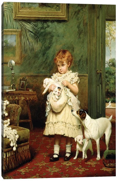 Girl with Dogs, 1893  Canvas Art Print