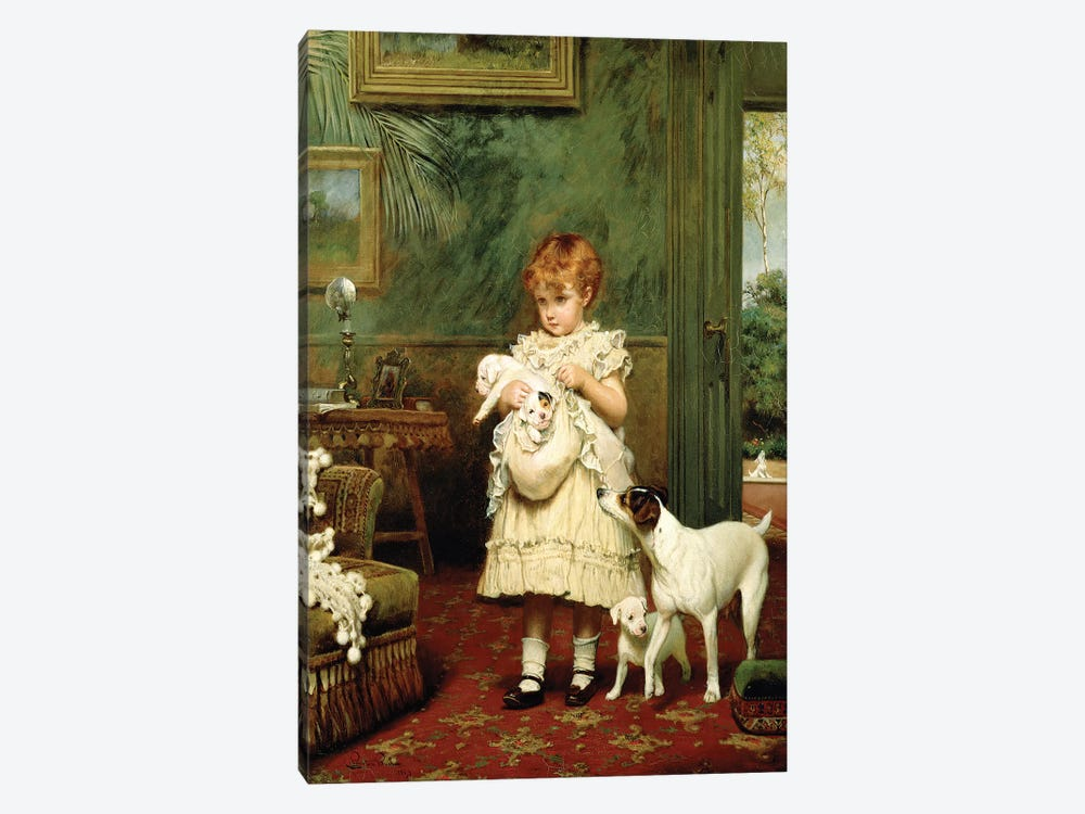 Girl with Dogs, 1893  by Charles Burton Barber 1-piece Canvas Art Print