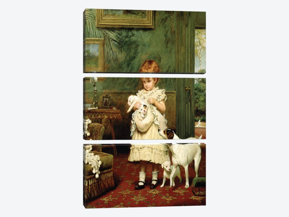 Girl with Dogs, 1893  by Charles Burton Barber 3-piece Canvas Print