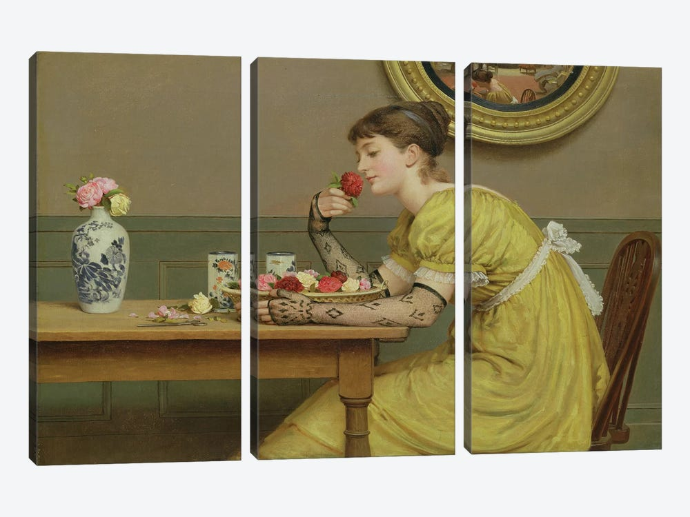 Roses  by George Dunlop Leslie 3-piece Canvas Art Print