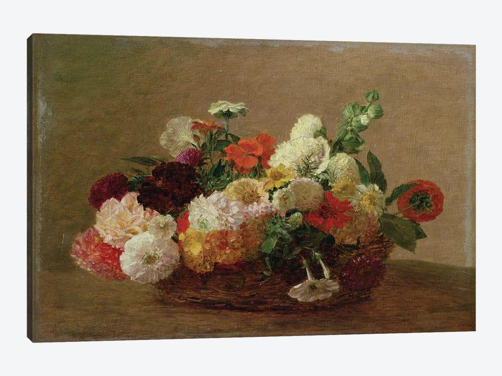 Flower Still Life  by Ignace Henri Jean Theodore Fantin-Latour 1-piece Canvas Art
