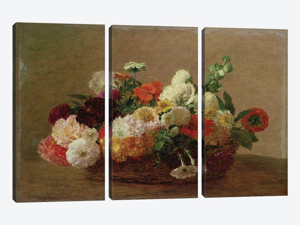 Flower Still Life  by Ignace Henri Jean Theodore Fantin-Latour 3-piece Canvas Artwork